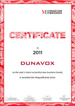 сертификат венгерского конкурса Magyar Brands 2011 г.