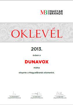 сертификат венгерского конкурса Magyar Brands 2013 года
